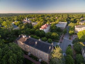 Drone sky angle of Morehead building with sunset