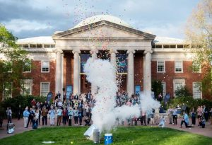 Ping-pong ball explosion in front of Morehead building