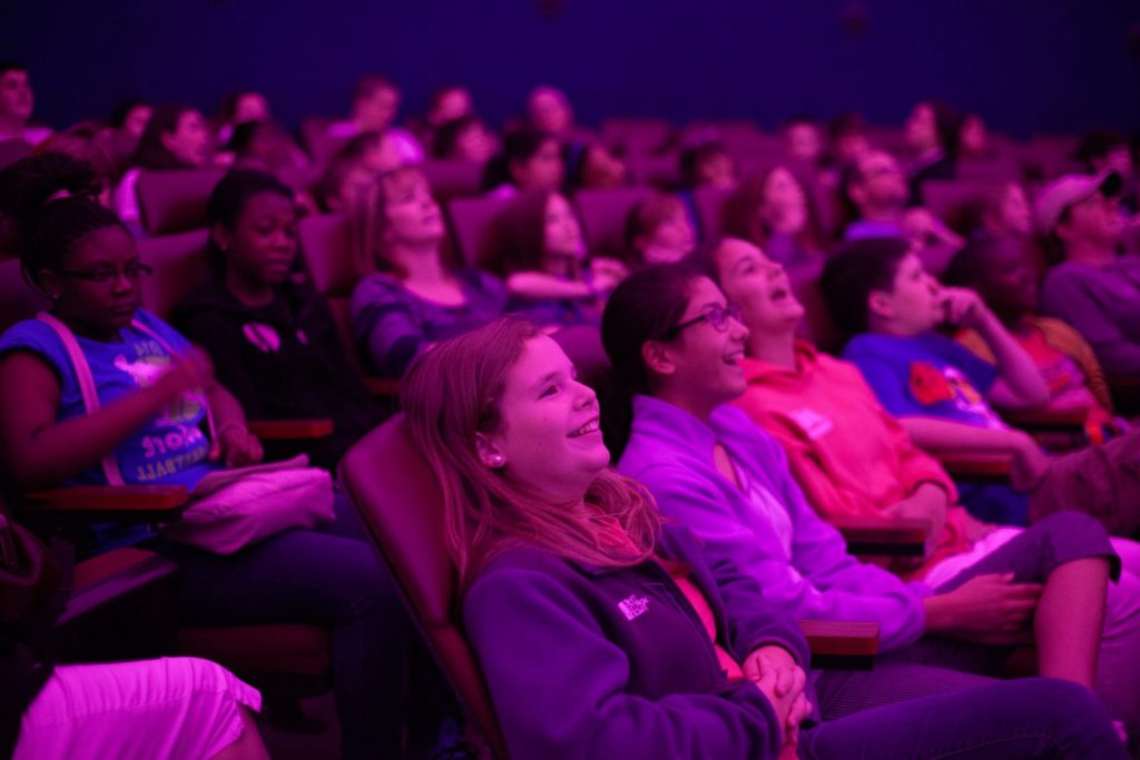 students in Morehead's GSK fulldome theater