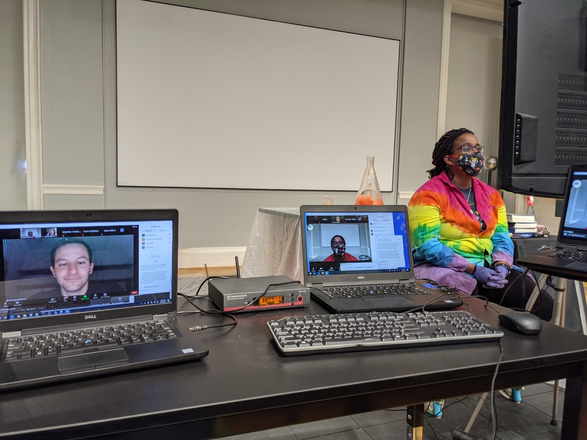 MPSC educator in tie-dye labcoat