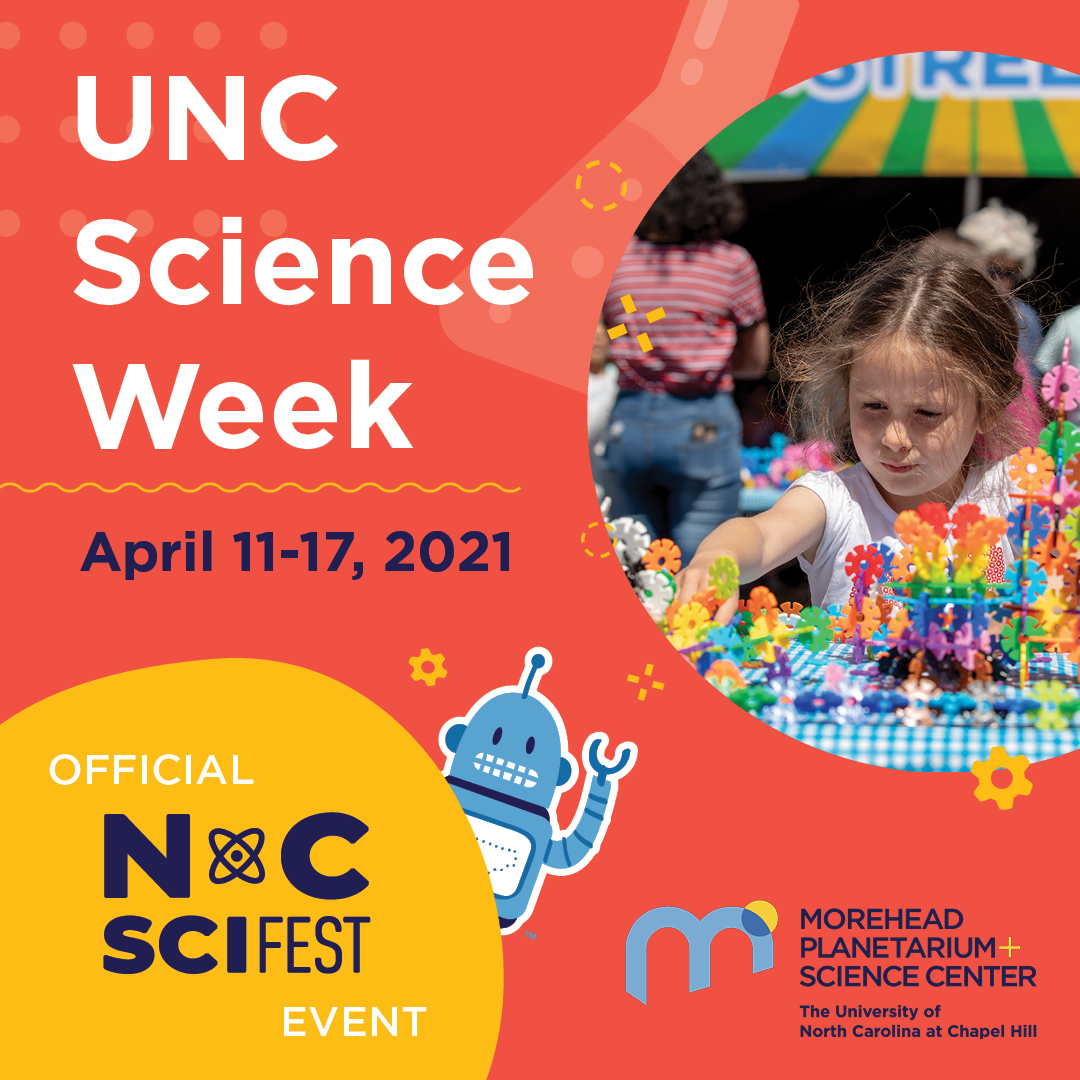 UNC Science Week graphic with image of young girl, Kelvin the mascot and NSF logo
