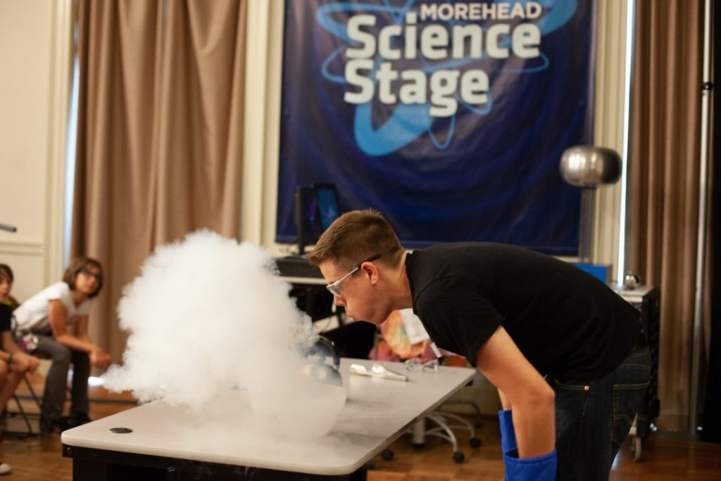 Morehead educator presenting live science demonstration