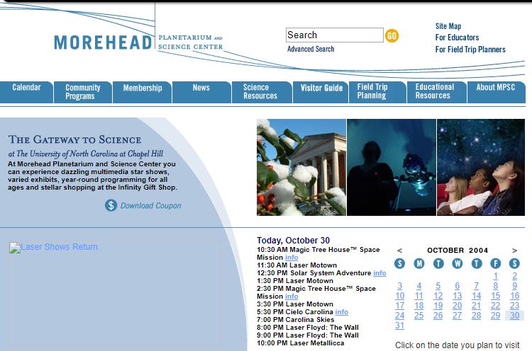 2004 Morehead homepage