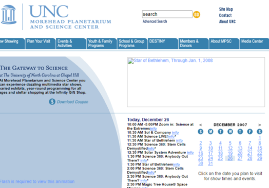 2007 Morehead homepage