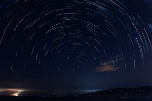 Long exposure timelapse photo of starry sky
