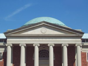 The pediment and dome of Morehead Planetarium and Science Center