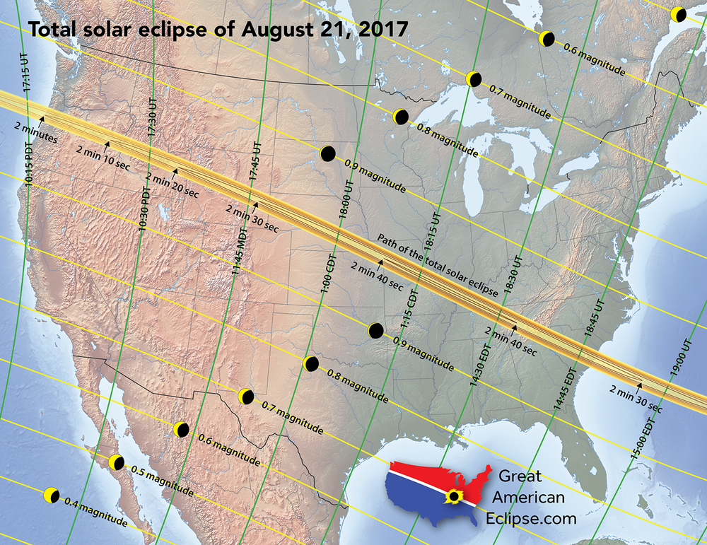 Path of 2017 total solar eclipse across the country