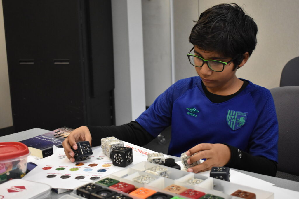 Young boy doing engineering activity