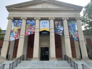 Exterior with banners