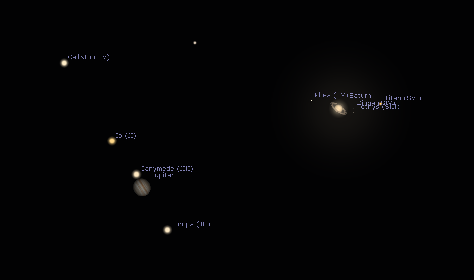During this conjunction, Jupiter and Saturn, along with some of their moons, appear in the same field of view in a telescope eyepiece. (Credit: Stellarium)