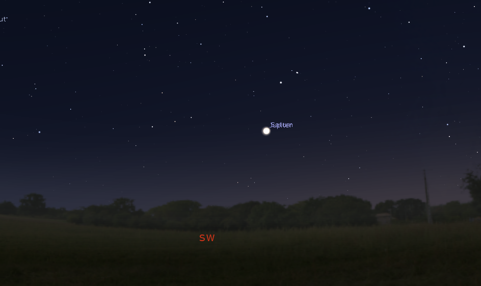upiter and Saturn appear so close together in the sky on December 21, 2020 that Stellarium's labels for the planets overlap—and your unaided eye may not be able to distinguish the planets as two distinct objects. (Credit: Stellarium)