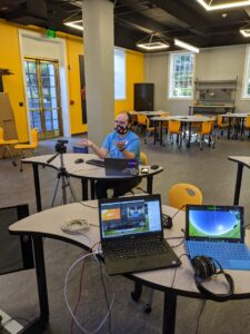 Behind the scenes virtual program with an educator on camera
