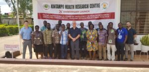 Researcher and local people at Kintampo Health Research Centre in Ghana